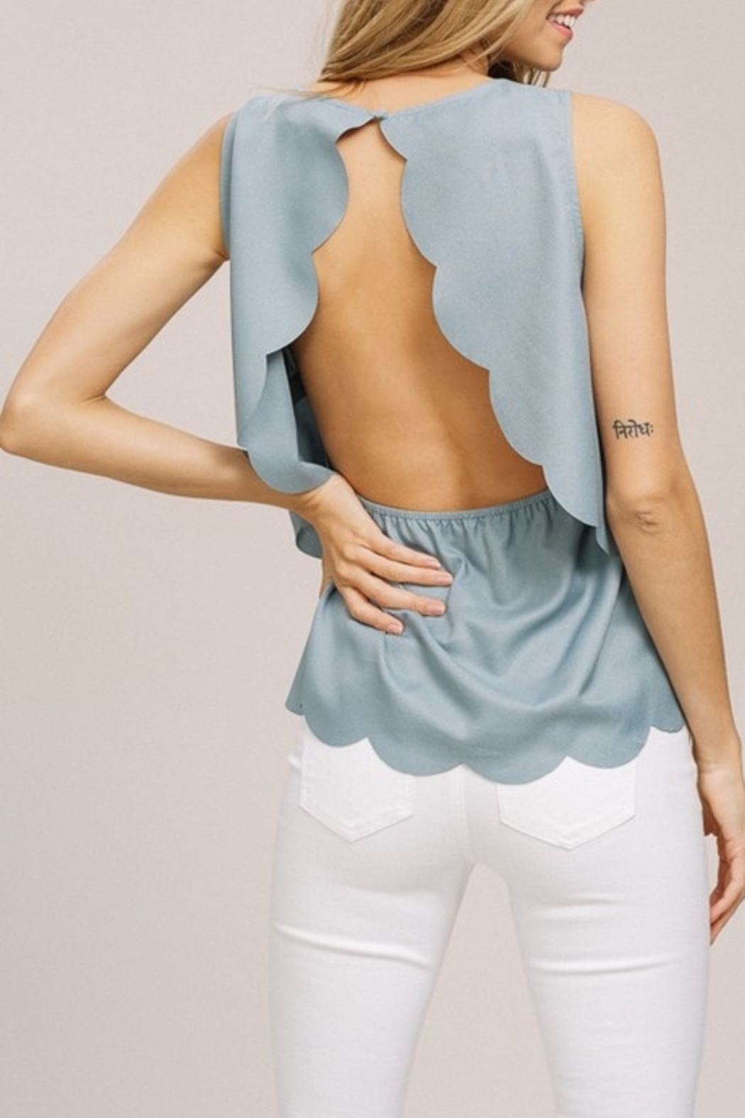 Listicle Scallop Summer top - Front Full Image