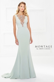 Montage Scalloped Bodice Fit and Flare Gown, Light Sage - Product Mini Image