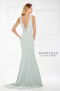 Montage Scalloped Bodice Fit and Flare Gown, Light Sage - Alternate List Image