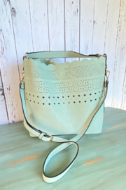 Mellow World scalloped bucket handbag with cut outs - Front cropped