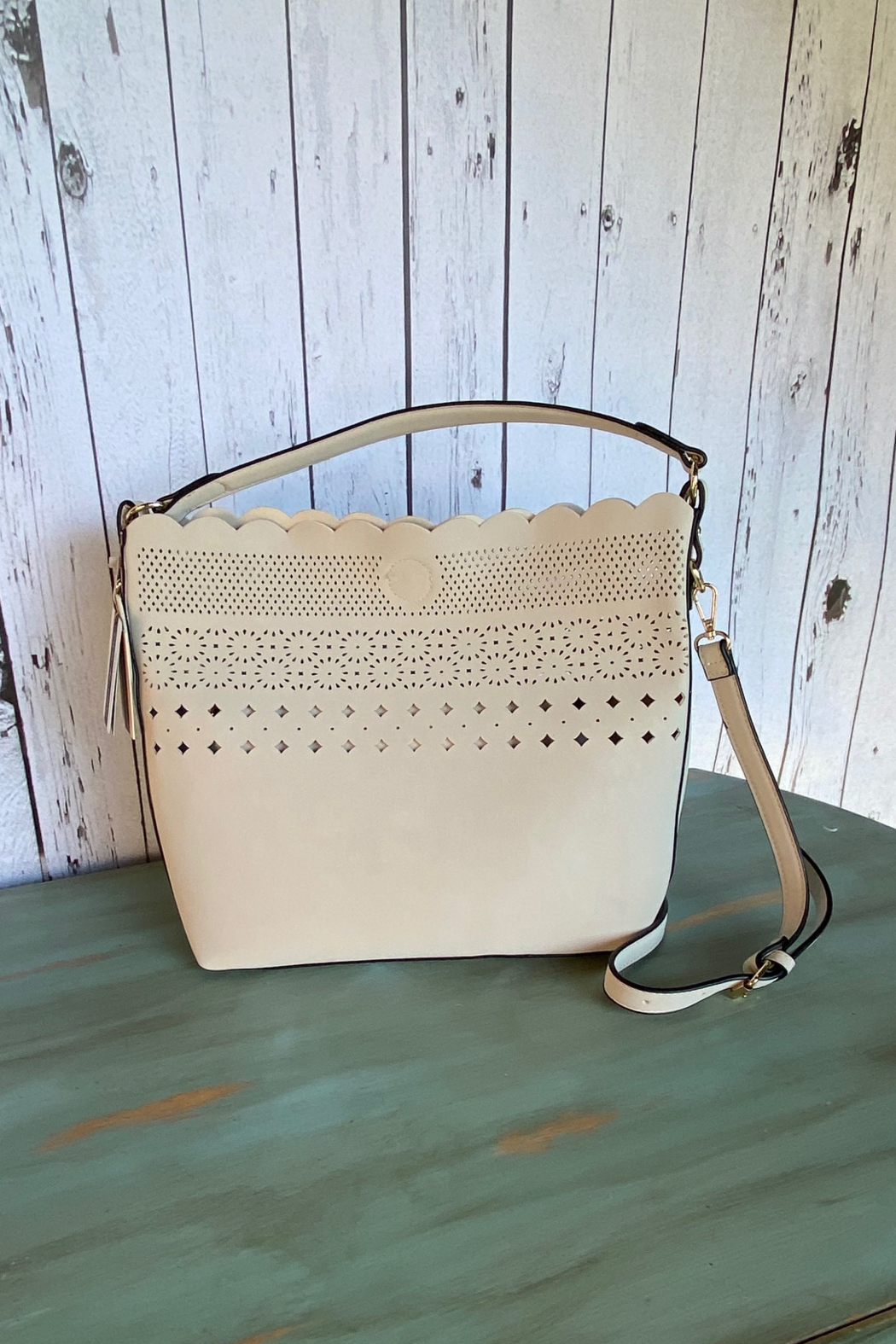 Mellow World scalloped bucket handbag with cut outs - Front Cropped Image