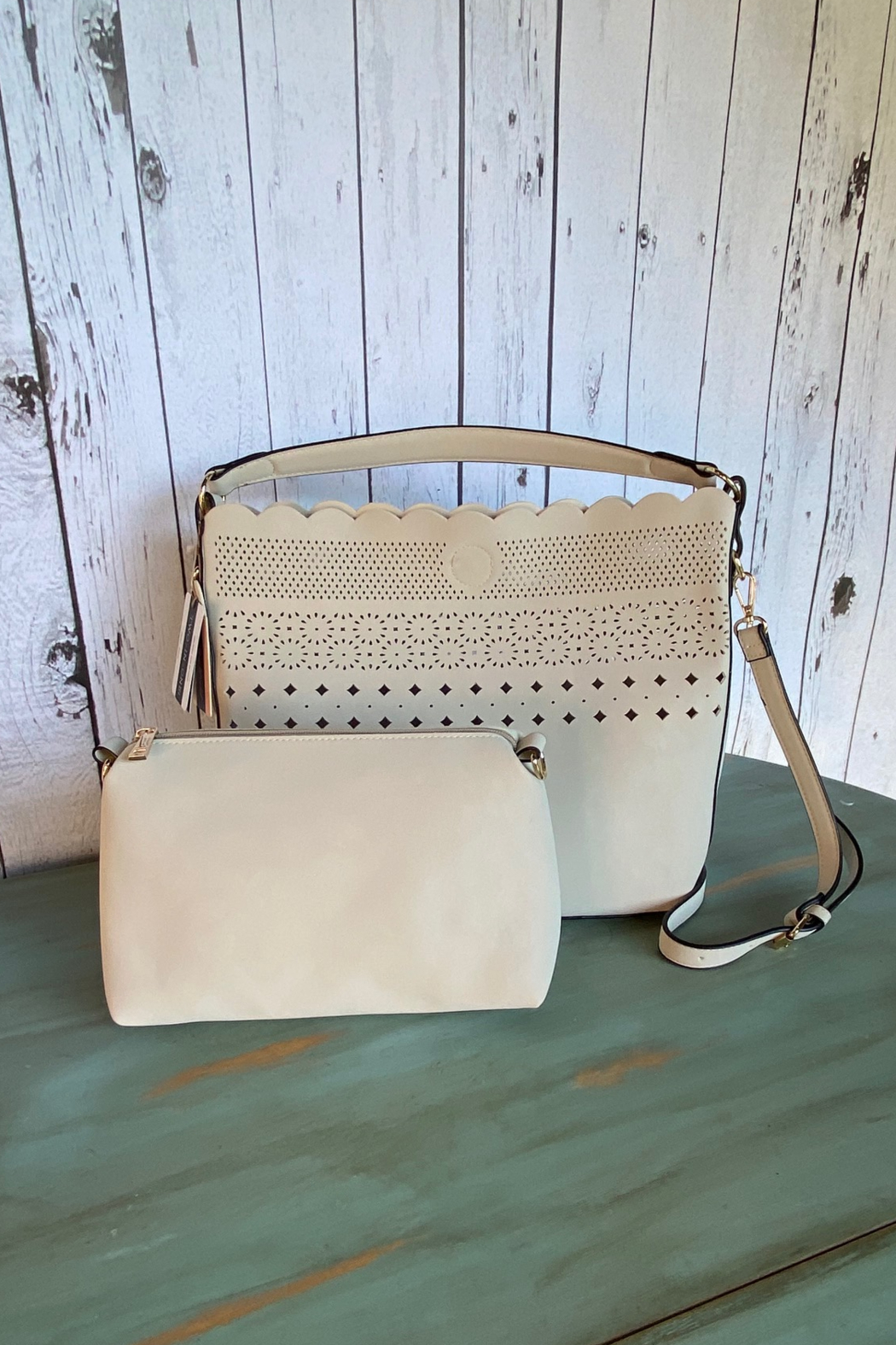 Mellow World scalloped bucket handbag with cut outs - Front Full Image