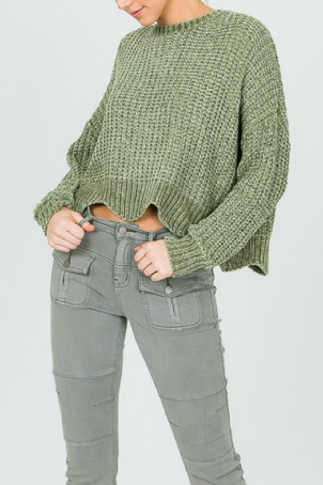 Pretty Little Things Scalloped Chenille Sweater - Front Cropped Image