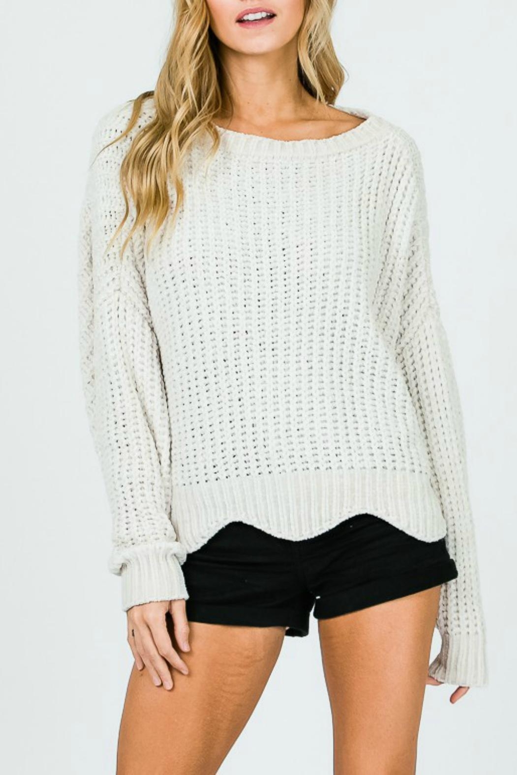 Pretty Little Things Scalloped Chenille Sweater - Main Image
