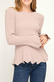 She + Sky Scalloped Edged Sweater - Product Mini Image