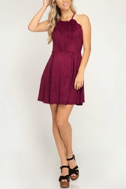 She + Sky Scalloped Fit-Flare Dress - Back cropped