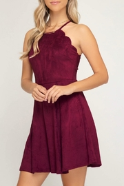She + Sky Scalloped Fit-Flare Dress - Front cropped