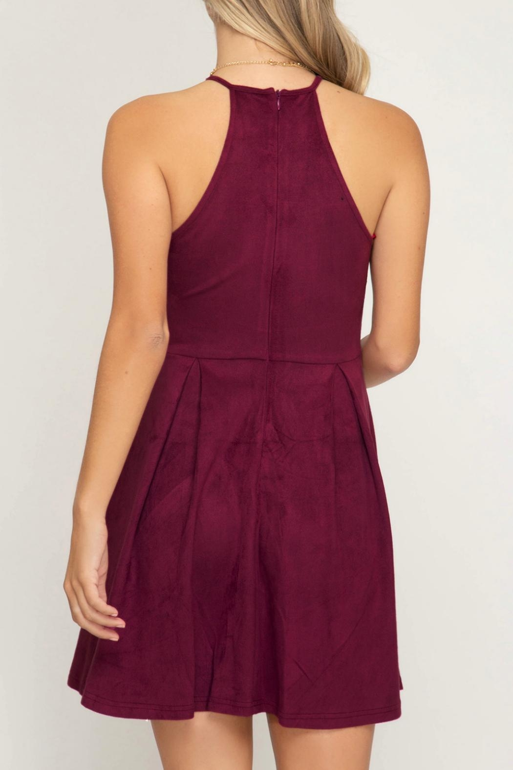 She + Sky Scalloped Fit-Flare Dress - Front Full Image