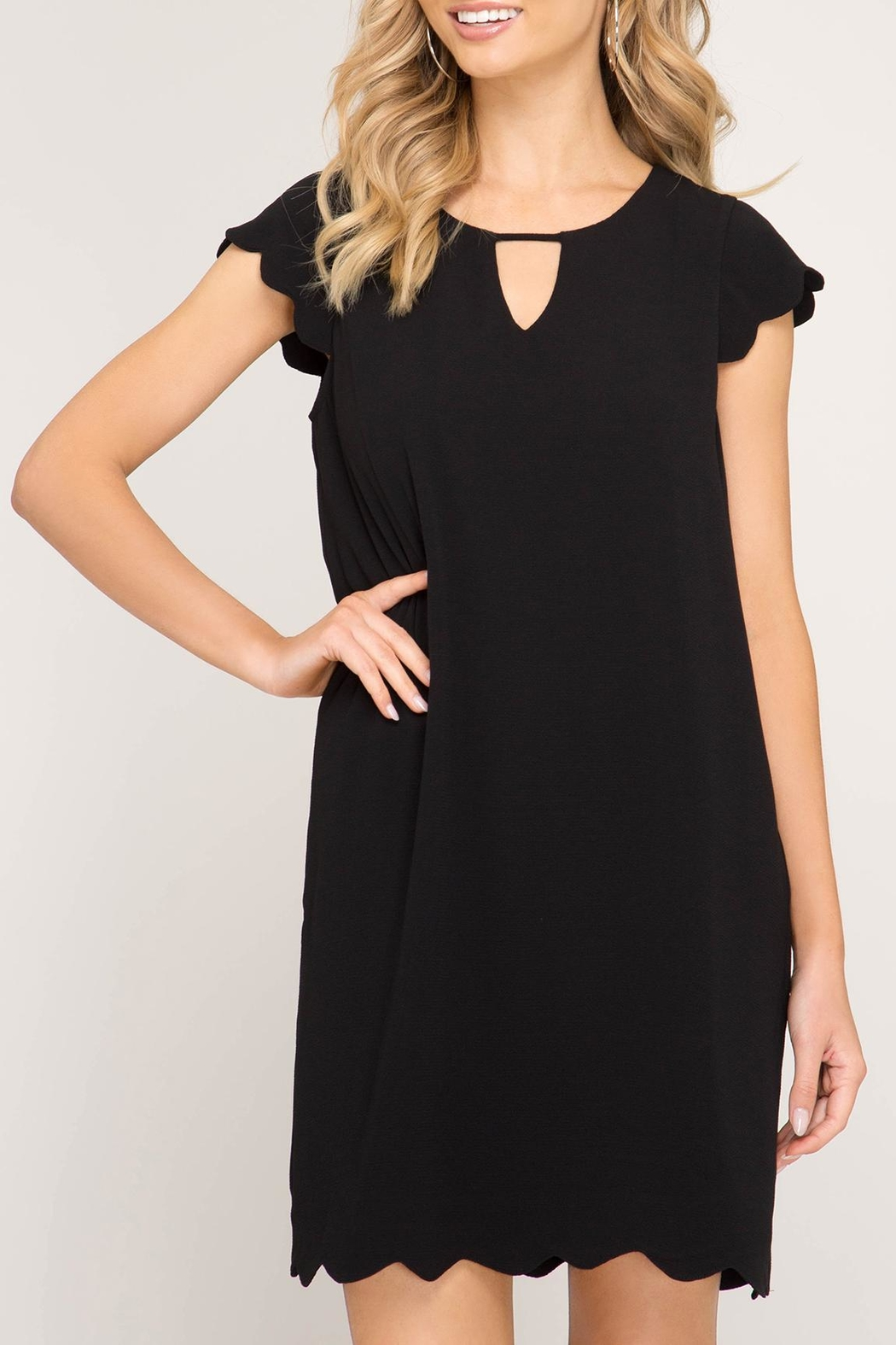 She + Sky Scalloped Hem Dress - Front Cropped Image