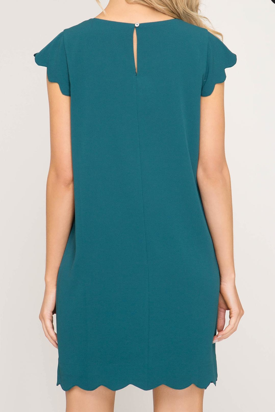 She + Sky Scalloped Hem Dress - Back Cropped Image