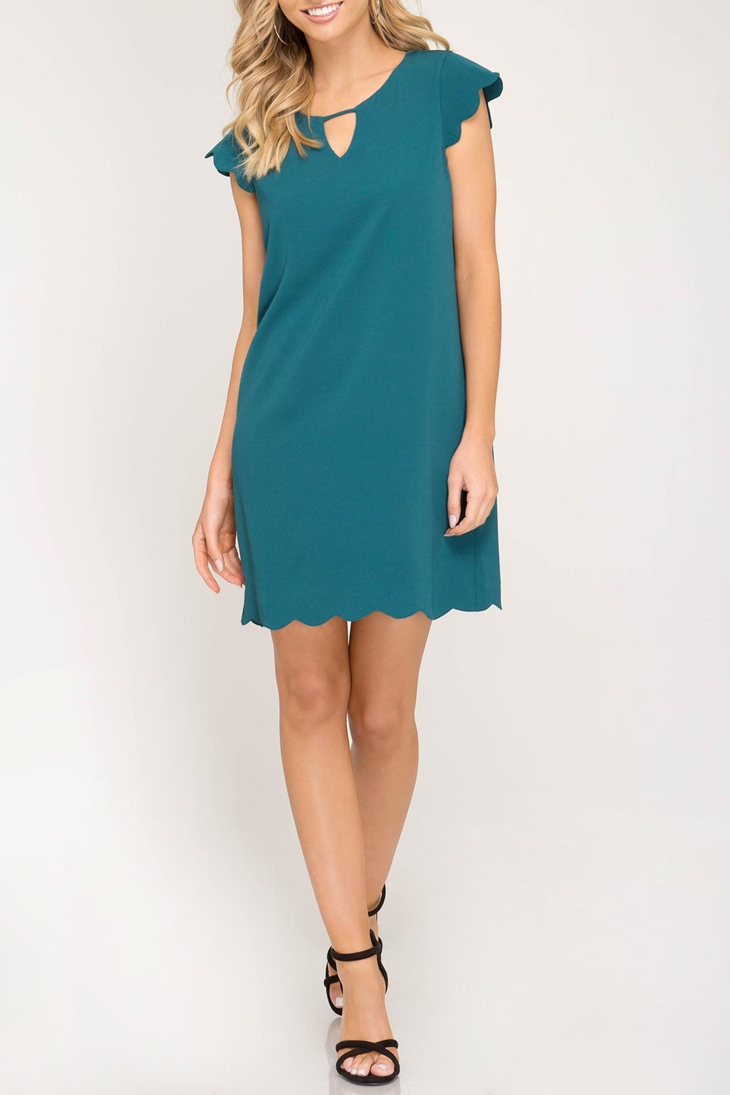 She + Sky Scalloped Hem Dress - Main Image