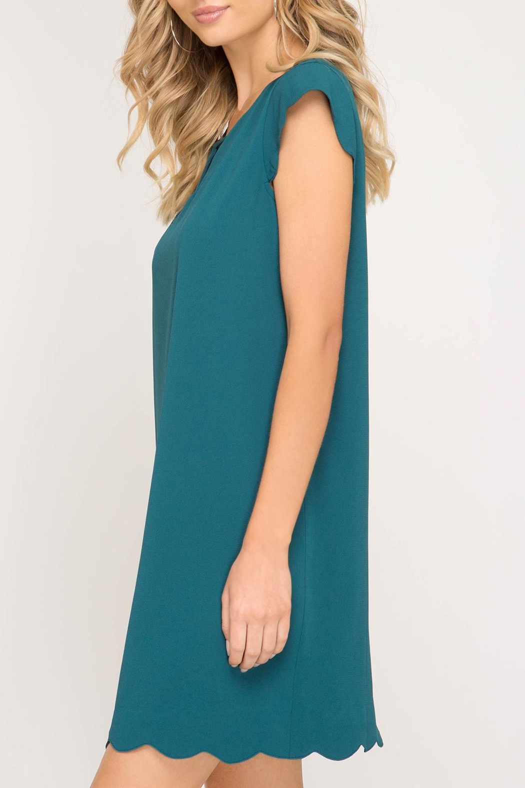 She + Sky Scalloped Hem Dress - Front Full Image