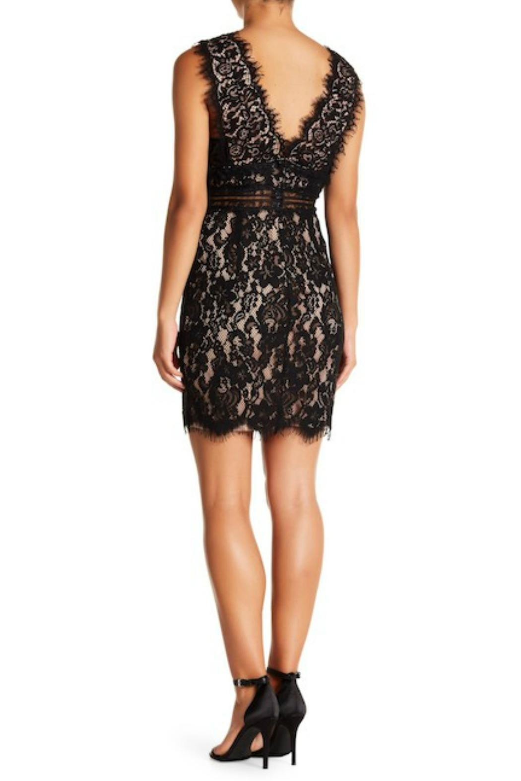 Just Me Scalloped Lace Bodycon-Dress - Front Full Image