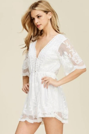 Jodifl Scalloped  Lace Romper - Front cropped