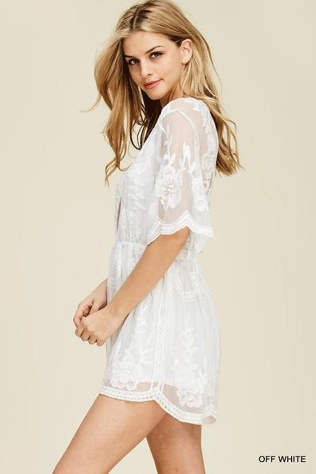 Jodifl Scalloped  Lace Romper - Front Full Image