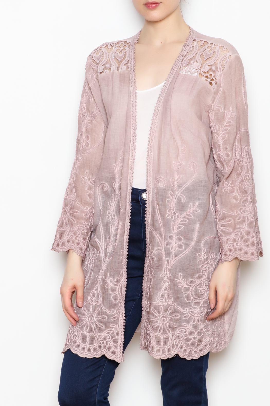 SCANDAL Embroidered Lace Kimono - Main Image