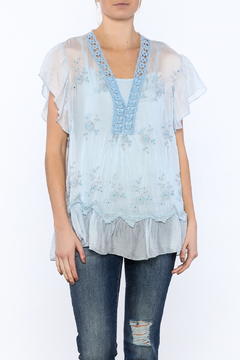 Scandal of Italy Blue Silky Embroidered Top - Product List Image