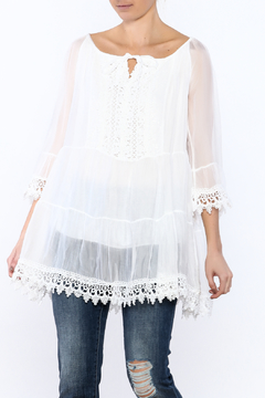 Scandal of Italy White Silky Tunic Blouse - Product List Image
