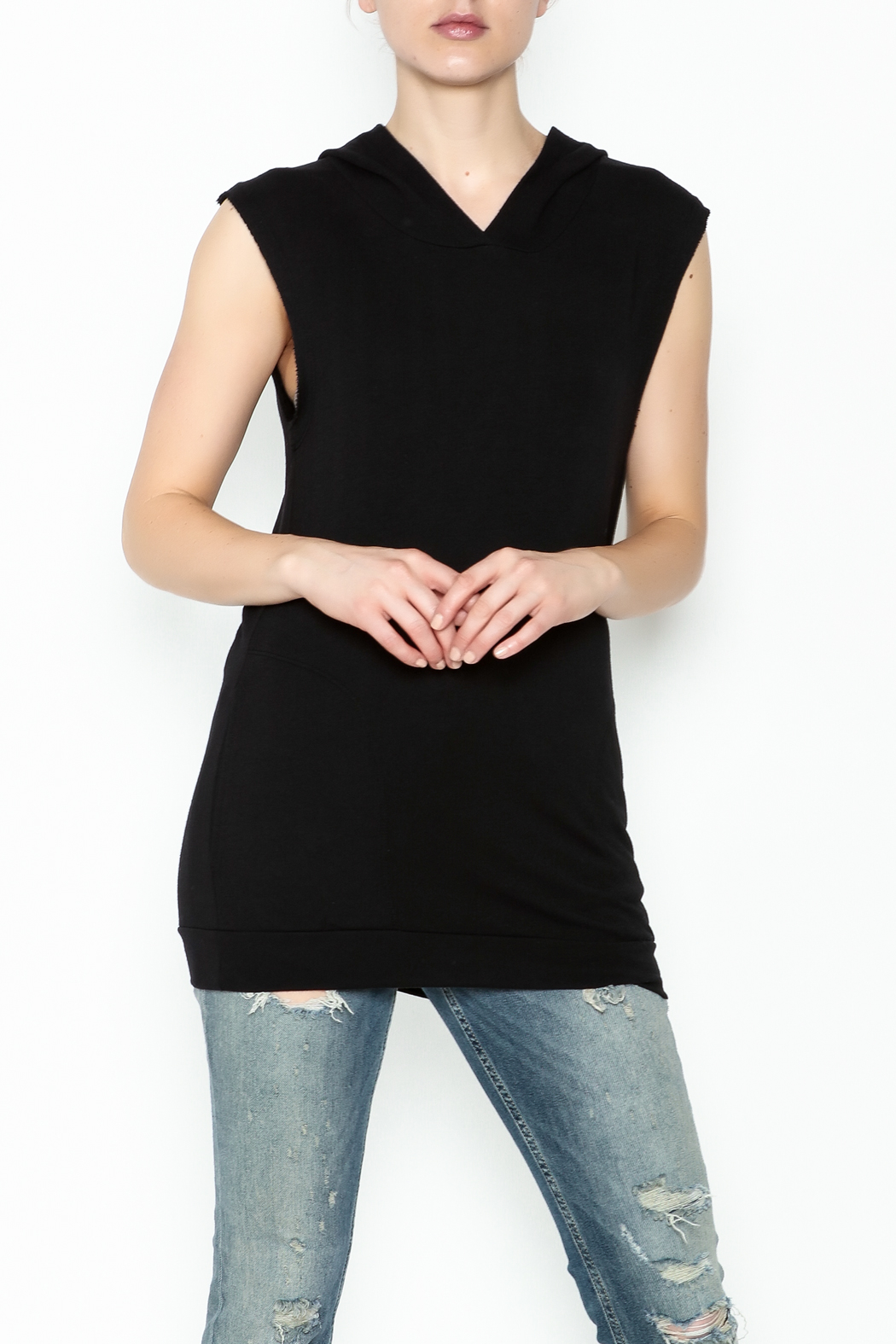 Scandalicious Sleeveless Hoodie - Front Cropped Image