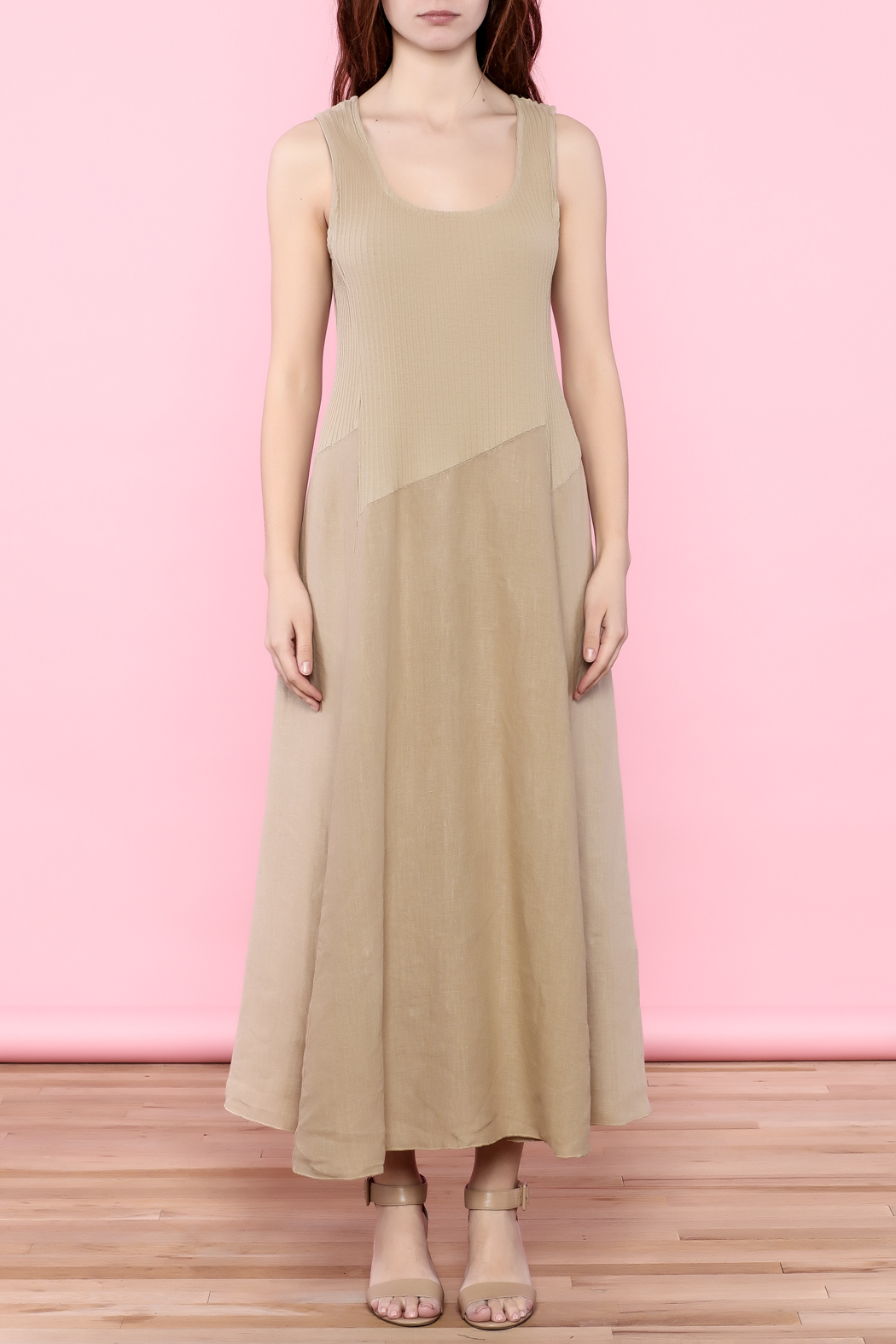 Scarborough Fair Beige Linen Dress - Front Cropped Image