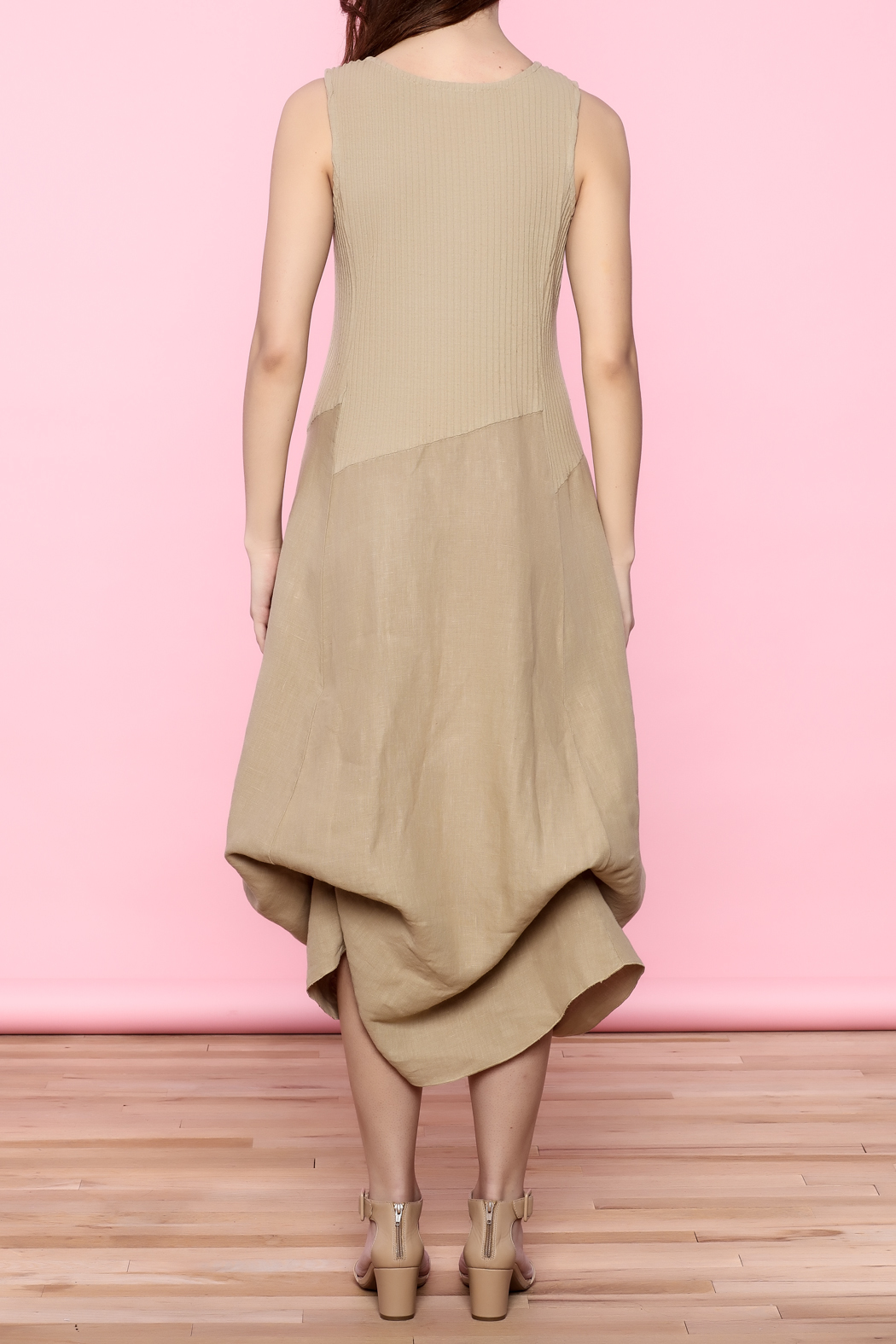Scarborough Fair Beige Linen Dress - Back Cropped Image