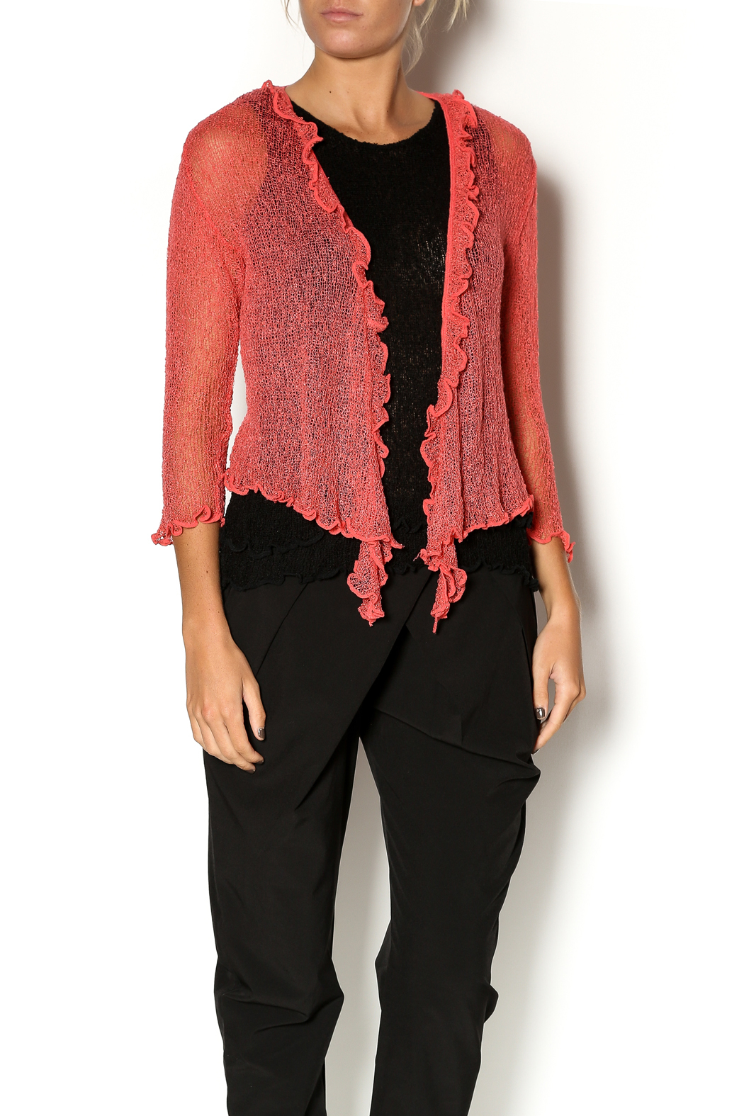Scarborough Fair Openweave Ruffle Shrug - Front Cropped Image