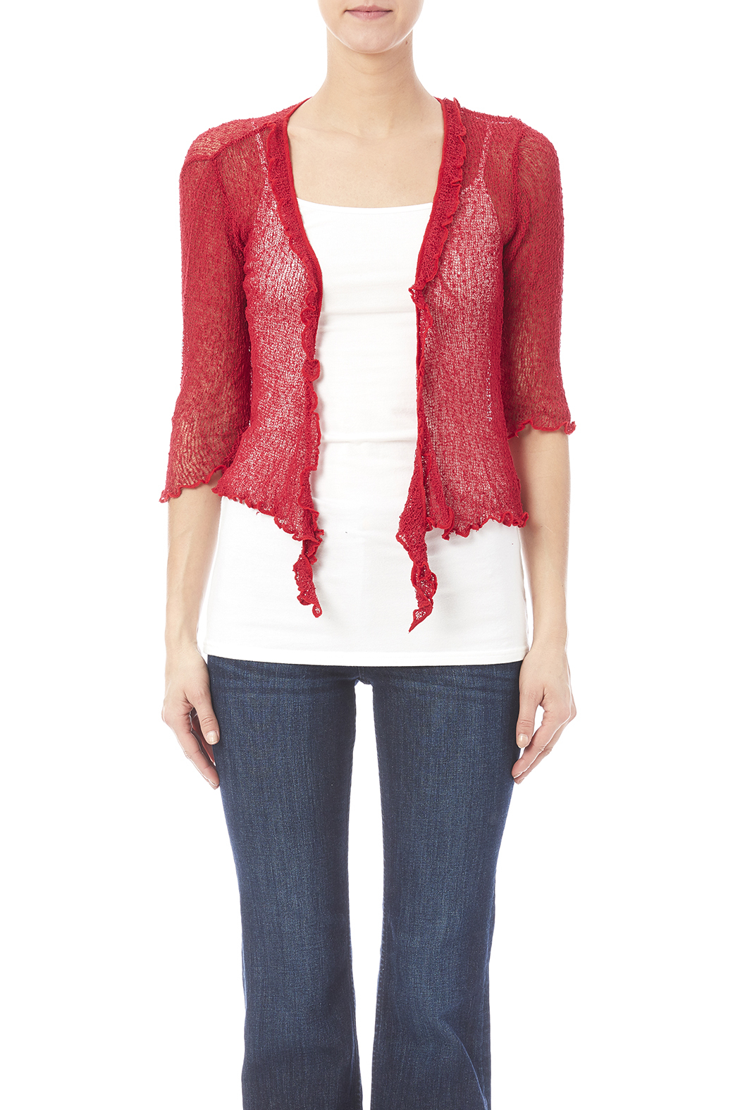 Scarborough Fair Red Ruffle Cardigan from Saint Paul by ...
