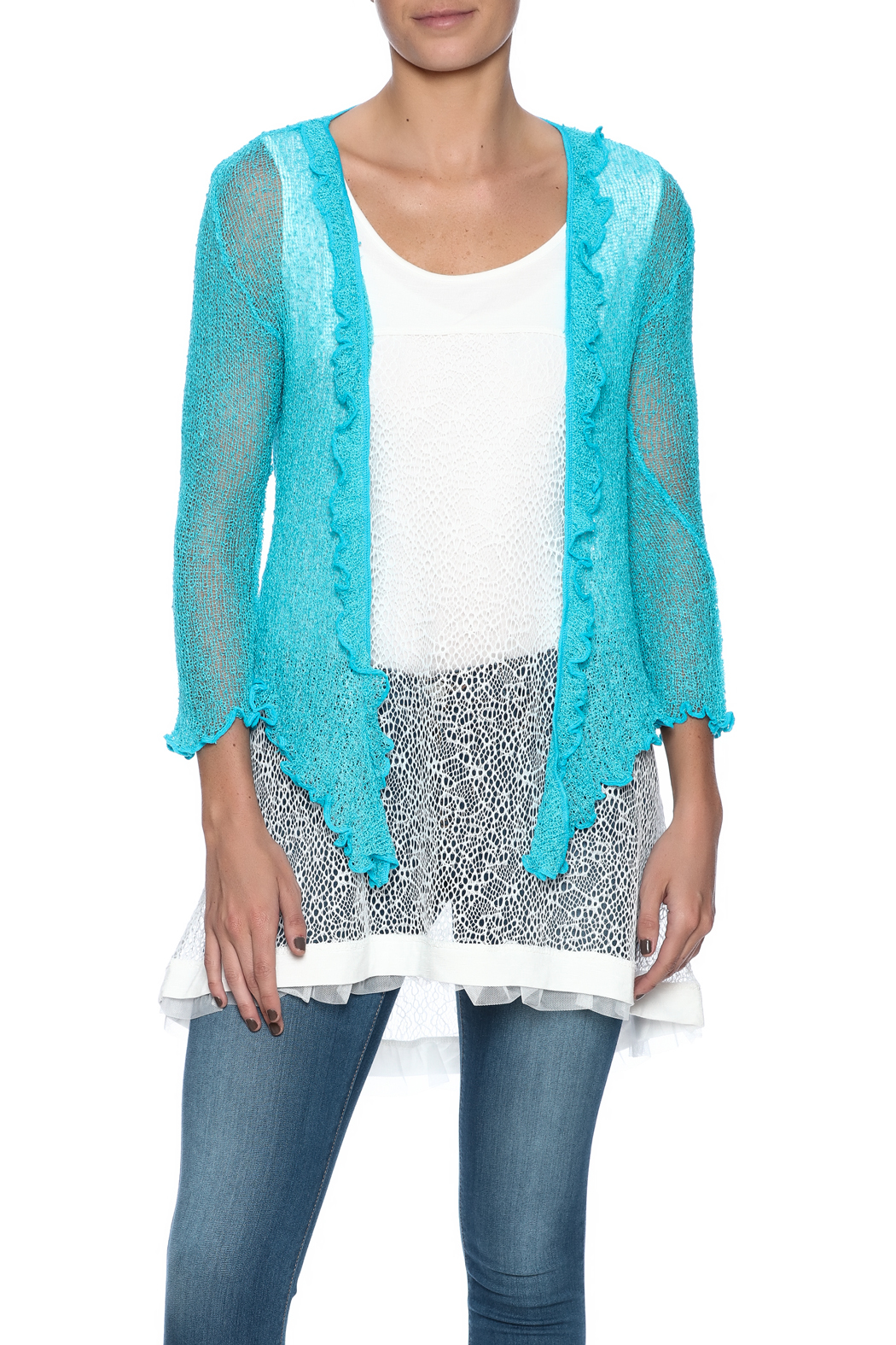 Scarborough Fair Ruffle Cardigan - Front Cropped Image