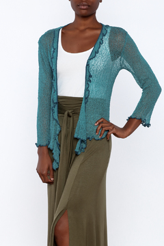 Shoptiques Product: Teal Ruffle Cardigan