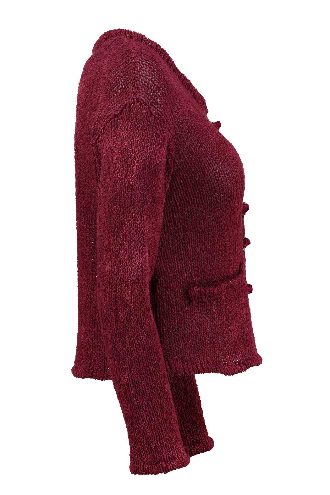 Scarecrow Claret Cotton Cardigan - Side Cropped Image