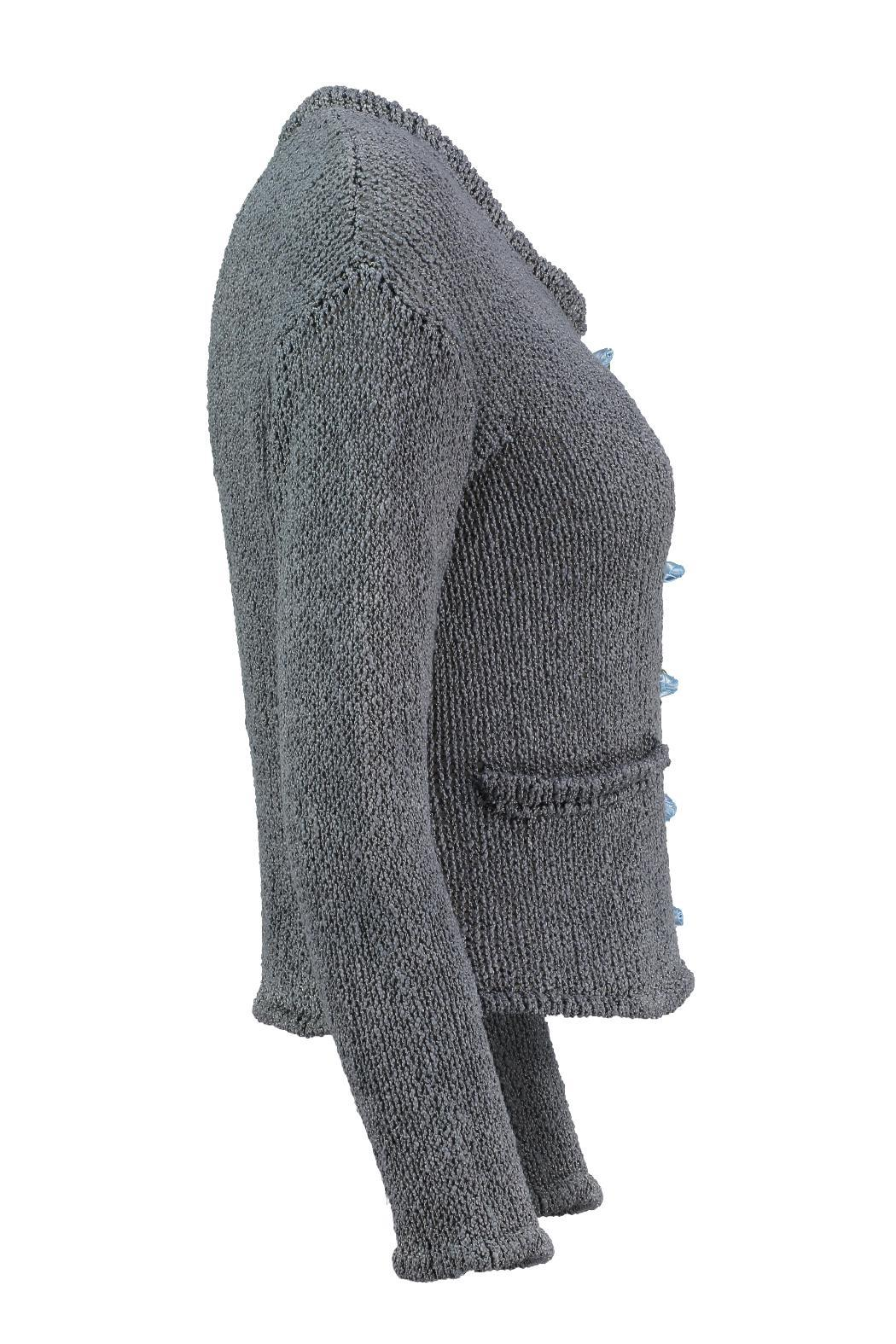 Scarecrow Grey Cotton Cardigan - Side Cropped Image