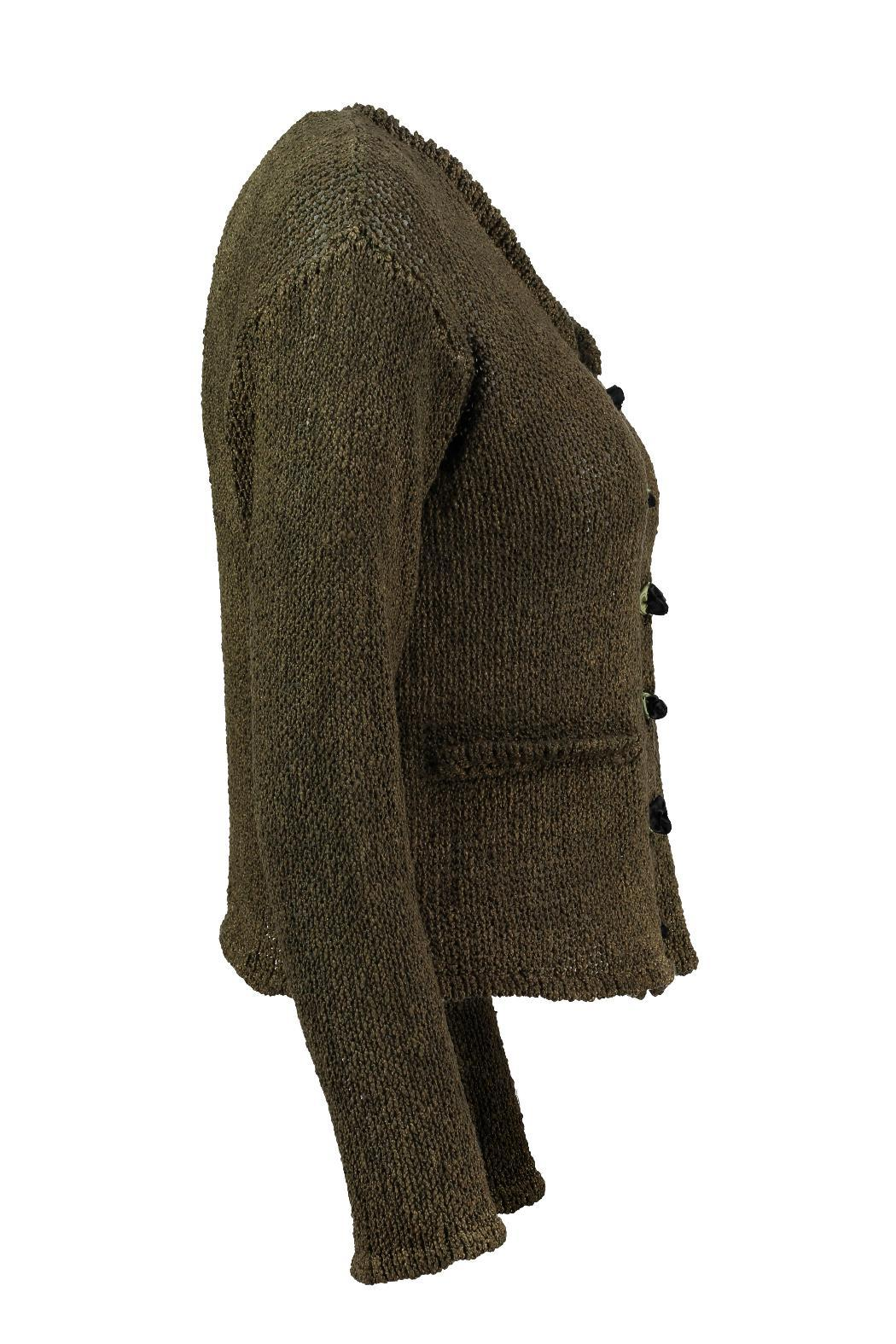 Scarecrow Khaki Cotton Cardigan - Side Cropped Image