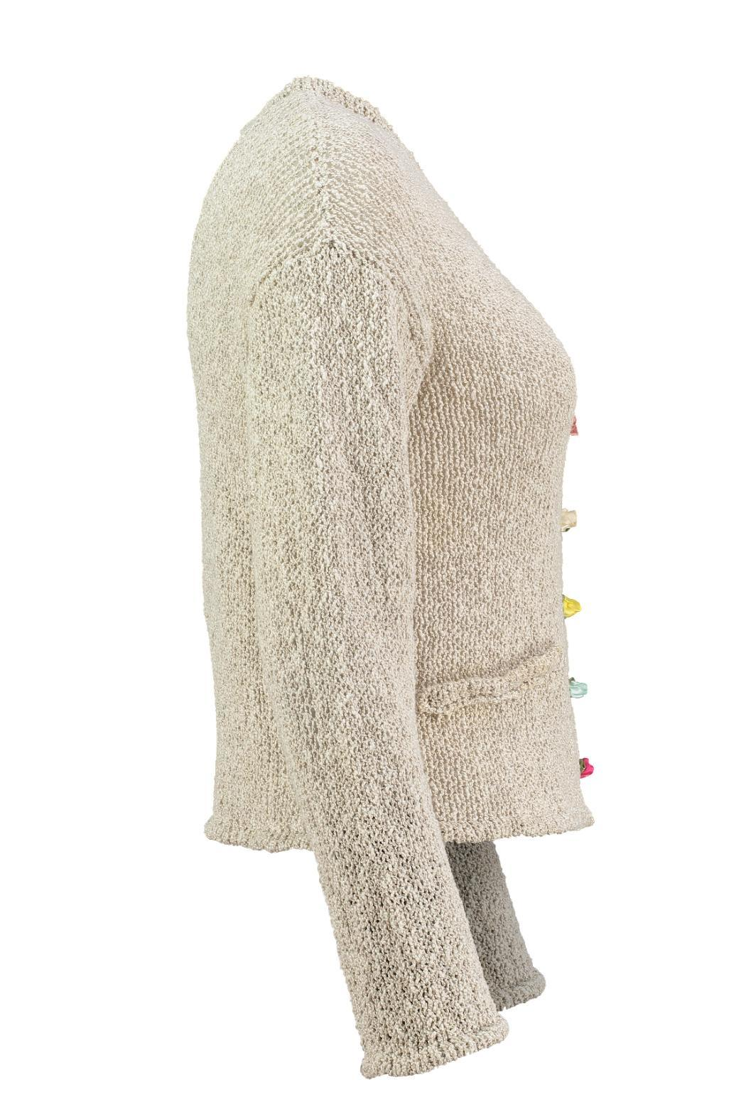 Scarecrow Natural Cotton Cardigan - Back Cropped Image
