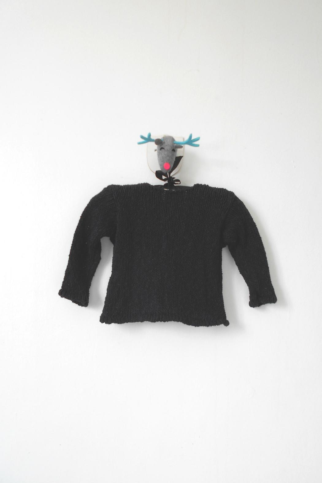 Scarecrow Kids Black Knitted Cardigan - Front Full Image