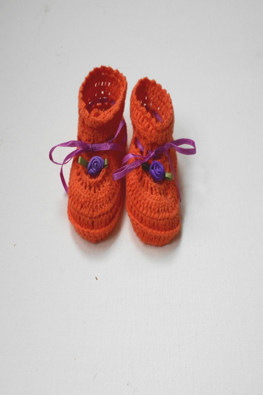 Scarecrow Kids Cotton Crochet Booties - Front Cropped Image