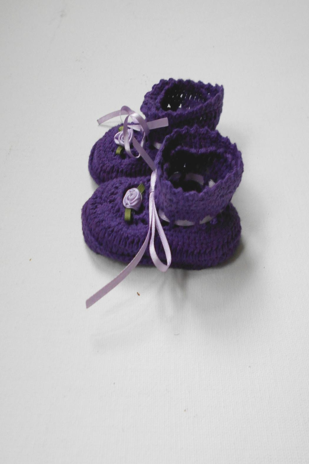 Scarecrow Kids Cotton Crochet Booties - Side Cropped Image