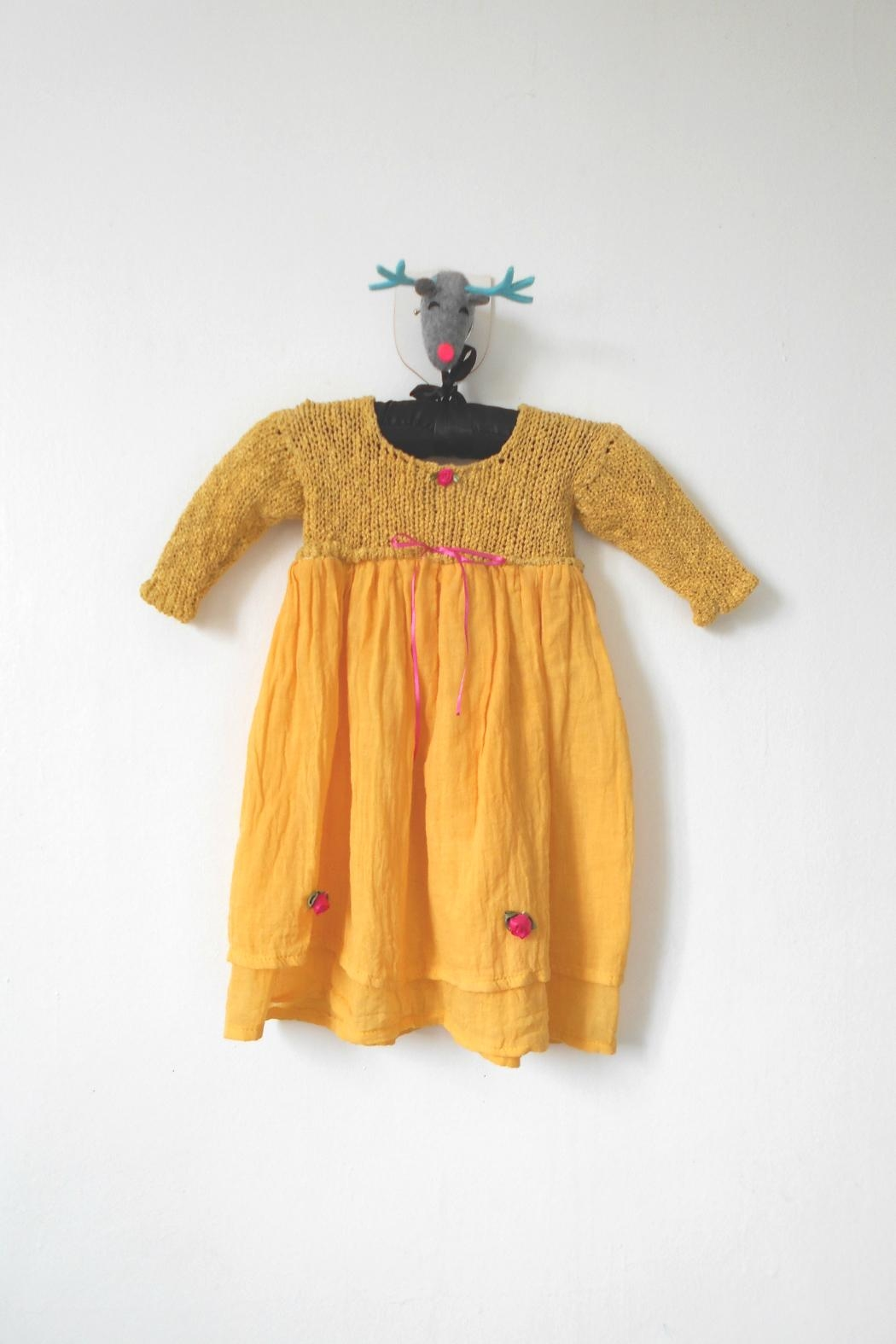 Scarecrow Kids Yellow Muslin Dress - Front Cropped Image