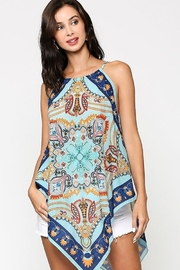Staccato Scarf Print Halter Top - Product Mini Image