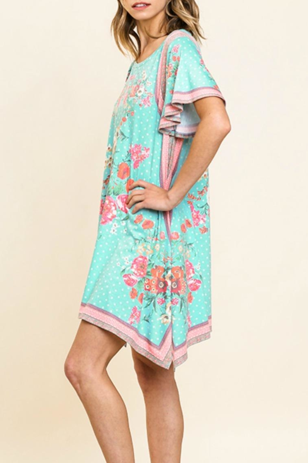 Umgee USA Scarf-Print Tee Dress - Front Full Image