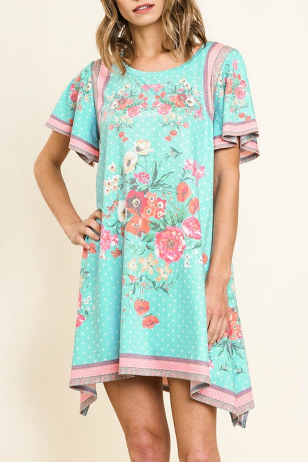 Umgee USA Scarf-Print Tee Dress - Front Cropped Image