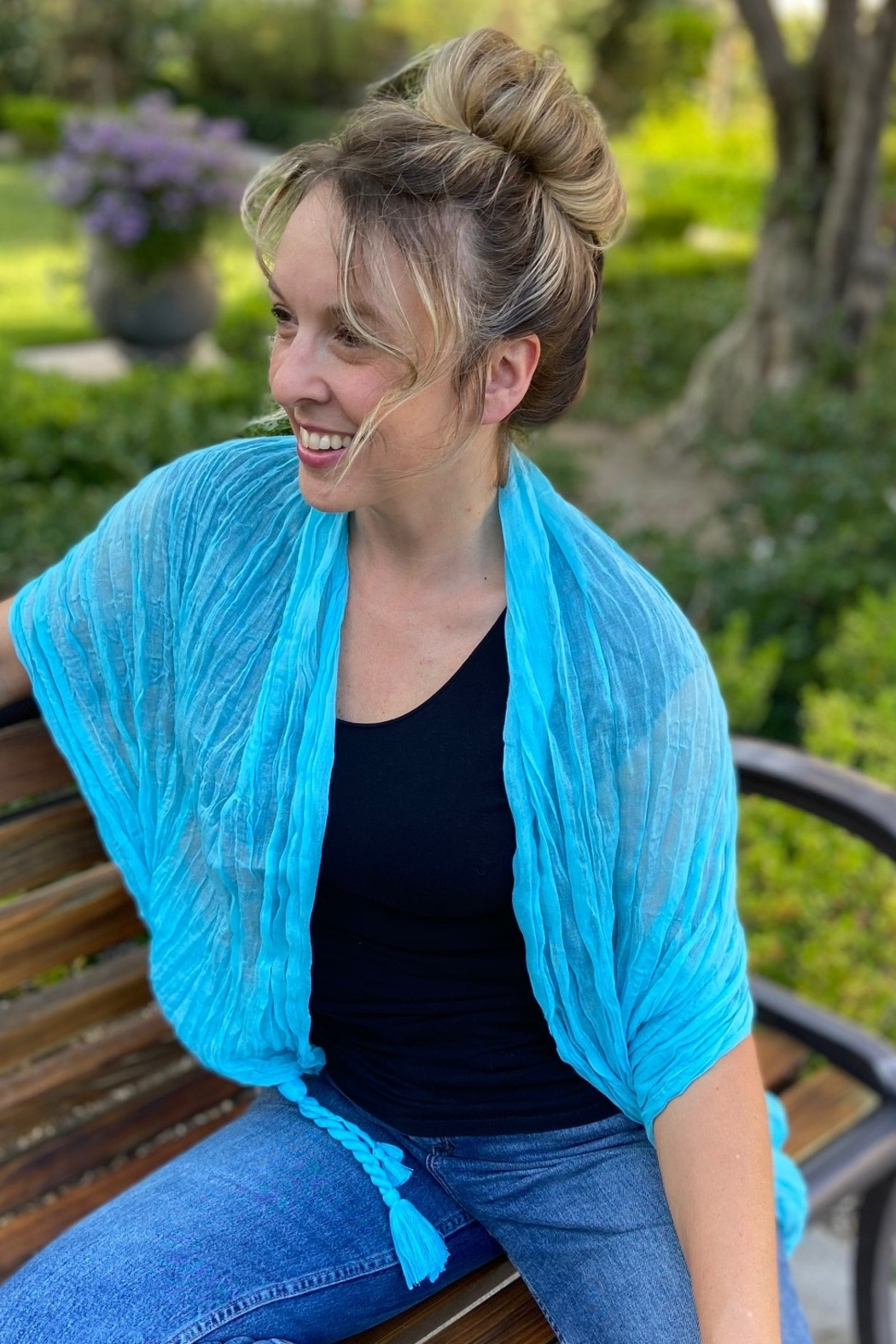 CJ Rose scarf/shawl - Front Full Image