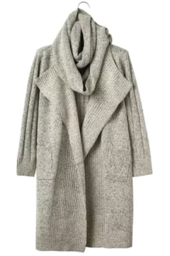 Shoptiques Product: Scarf Sweater Cream/Gray