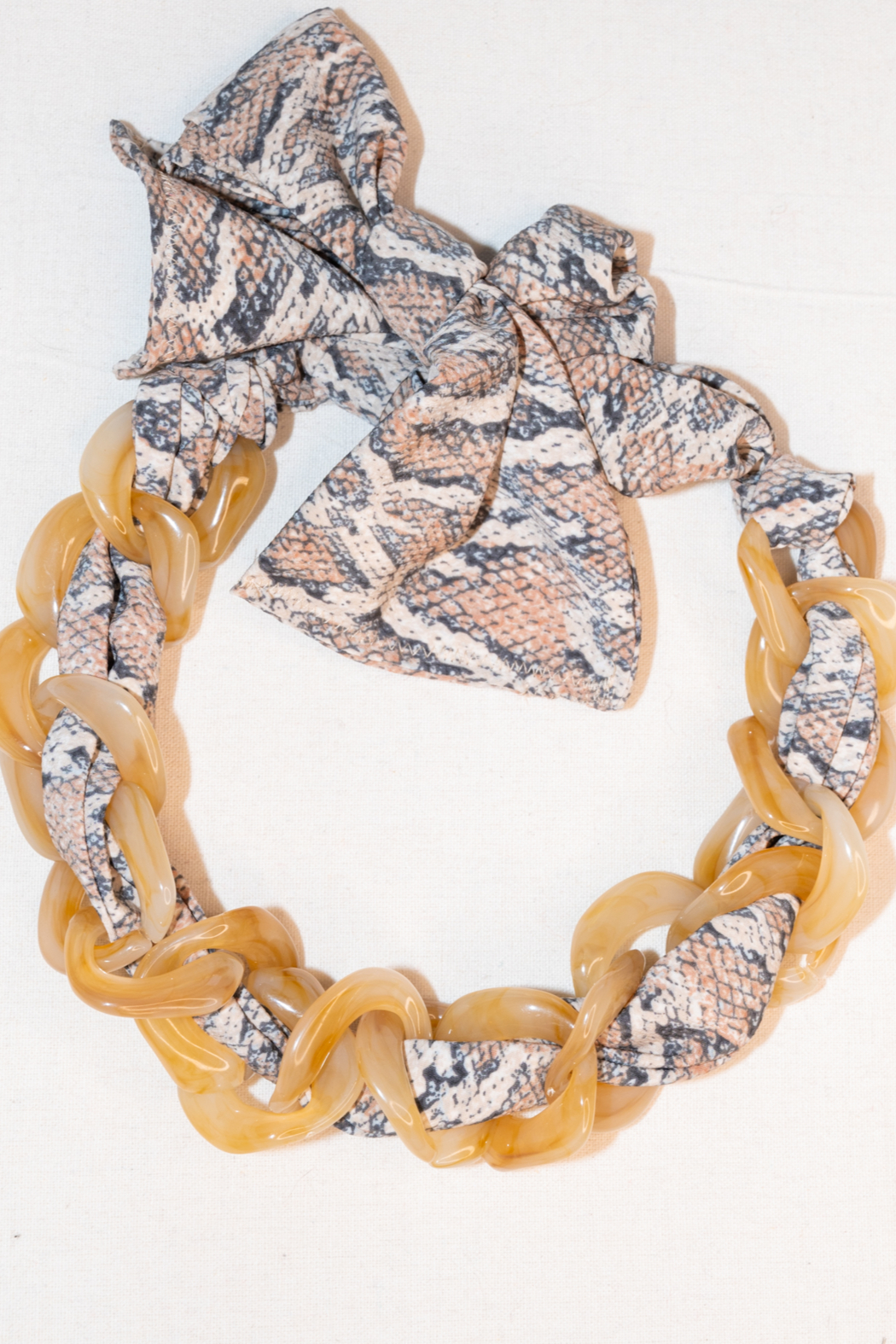 Handmade by CA artist Scarf with Chain - Linked - Necklace - Back Cropped Image