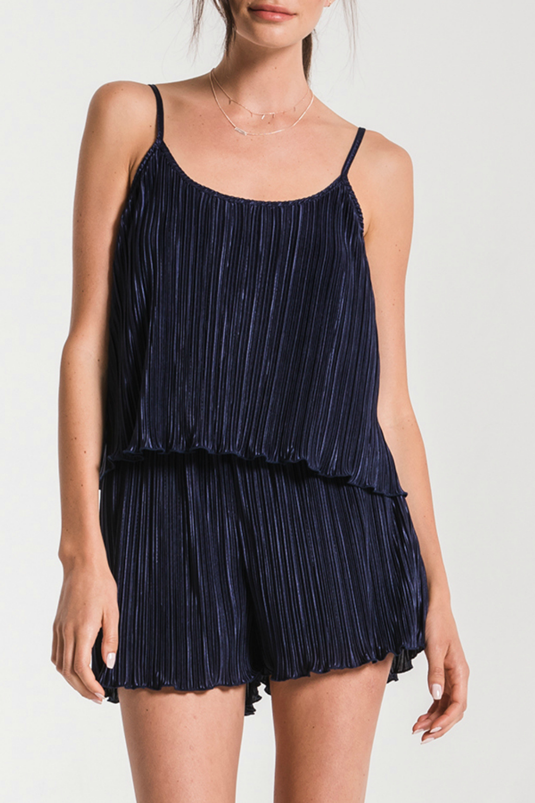 Black Swan Scarlet Pleated Romper - Front Cropped Image