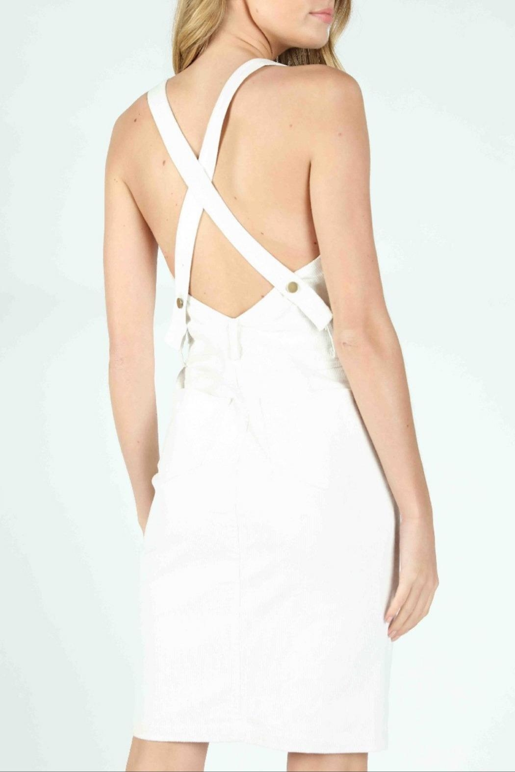 Honey Punch Scarlett Corduroy Overall-Dress - Side Cropped Image