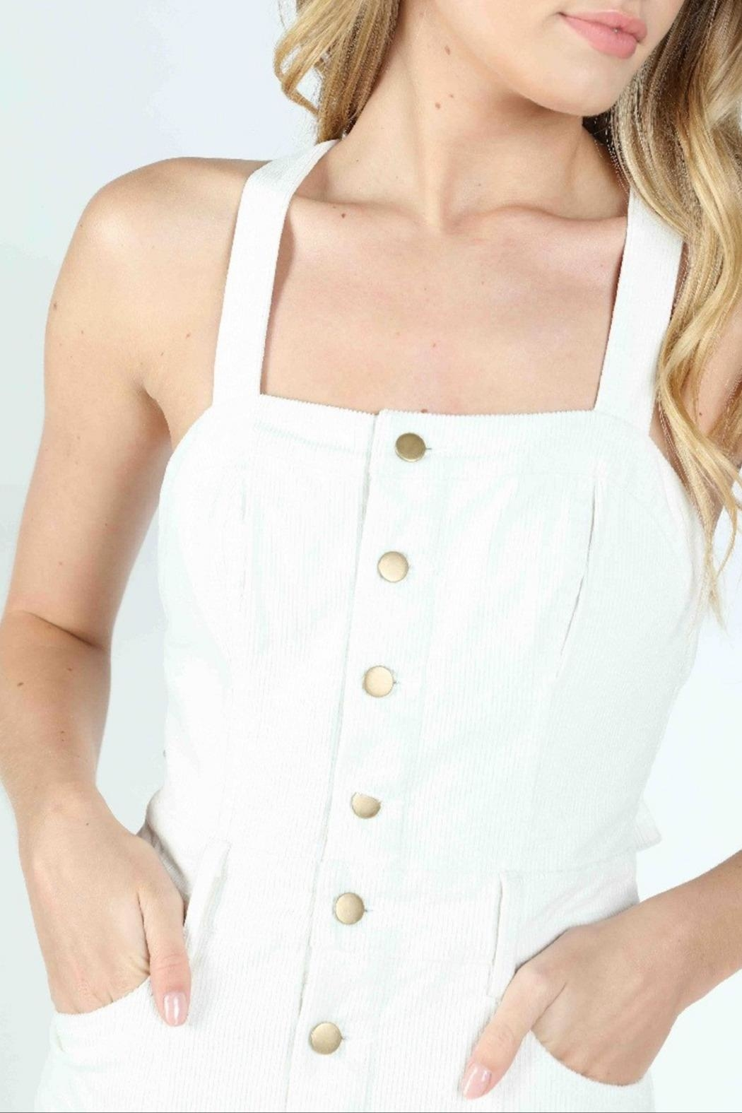 Honey Punch Scarlett Corduroy Overall-Dress - Back Cropped Image