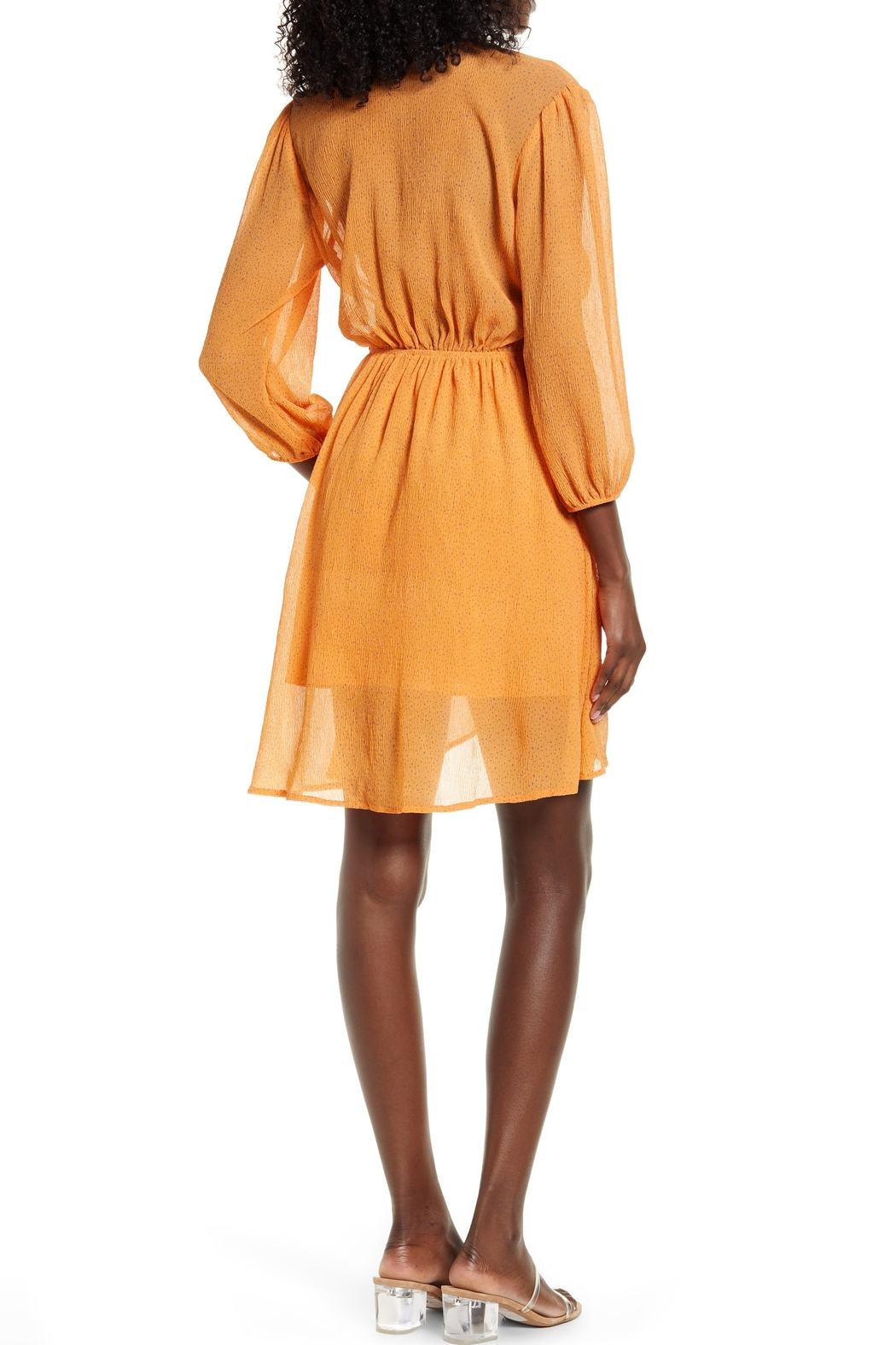 Moon River Scatter Dot Belted Dress - Side Cropped Image