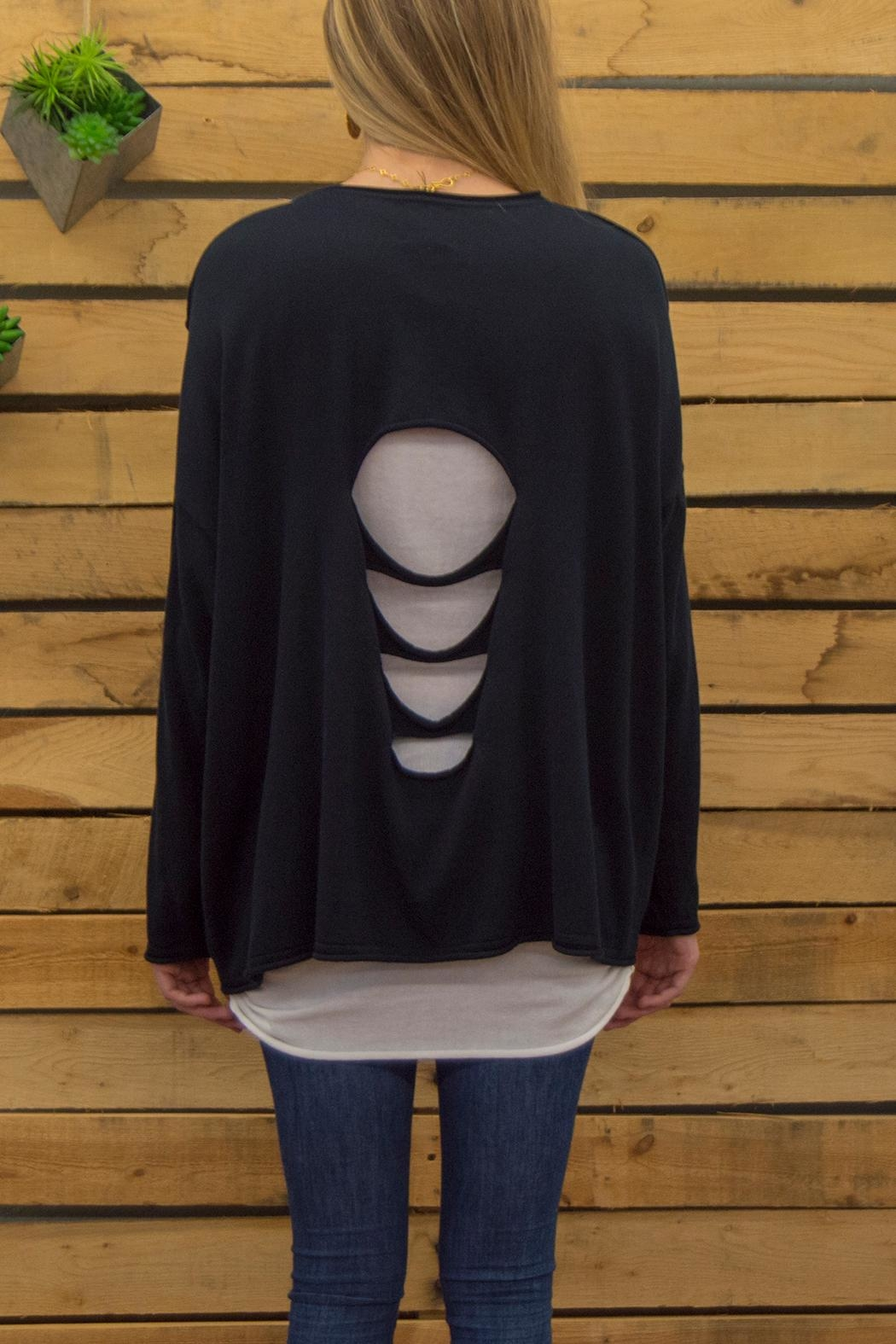 Planet Scattered Holes Sweater - Side Cropped Image
