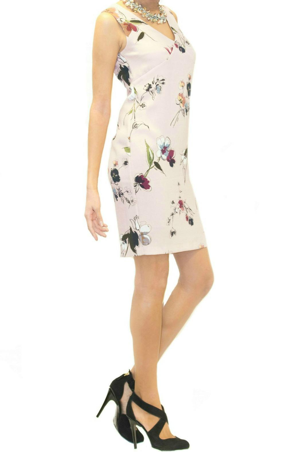 Scee Sleeveless Pink Floral Dress - Back Cropped Image