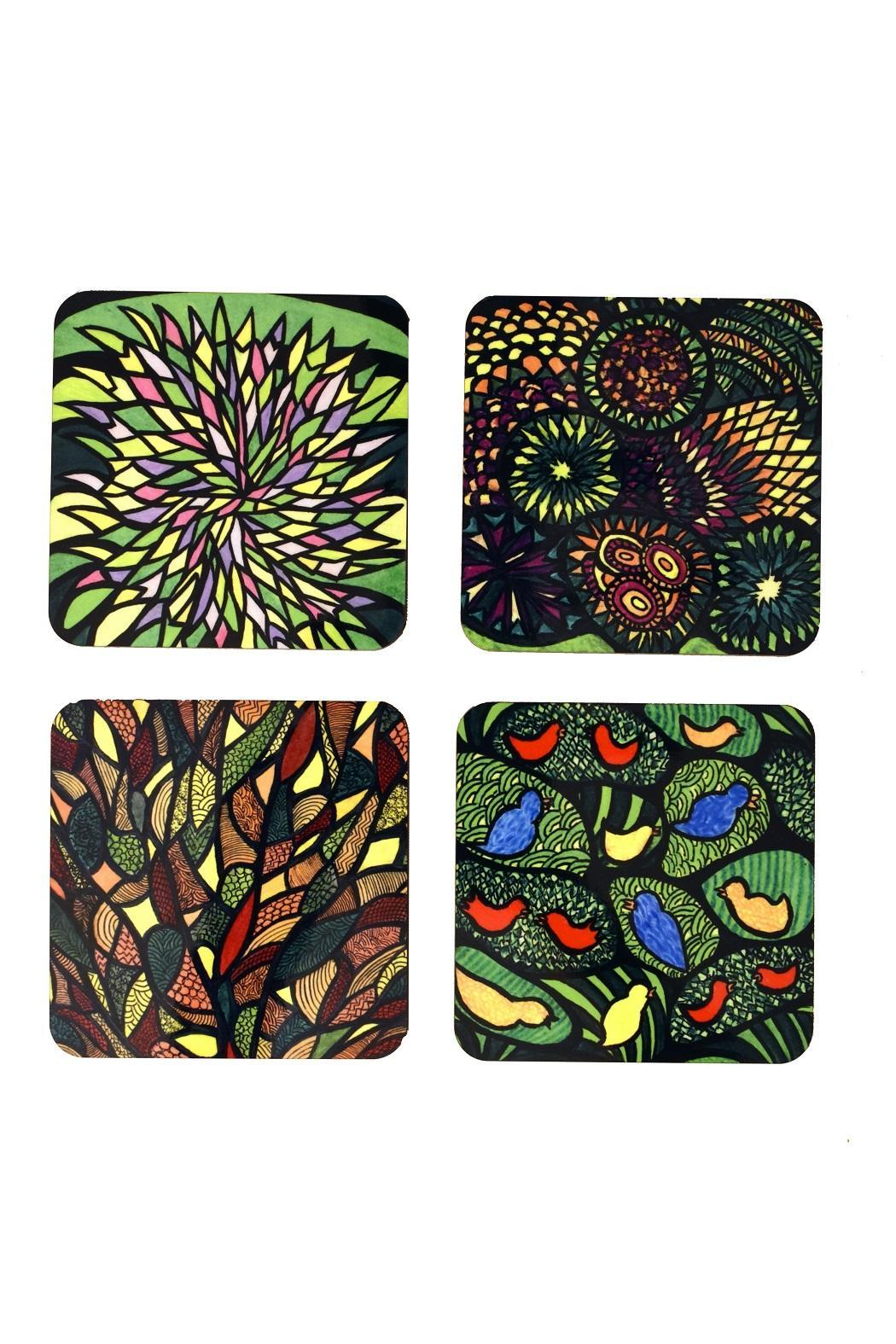 Schupak Art Works Coaster Set Forest - Back Cropped Image